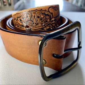 Accessories - Boho | Butterfly Embossed Brown Leather Belt
